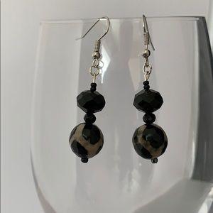 Black and tan round stone & bead earrings